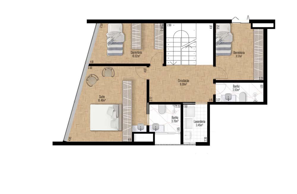 Apartamento Duplex 1001 e 1003 - Décimo primeiro Pavimento