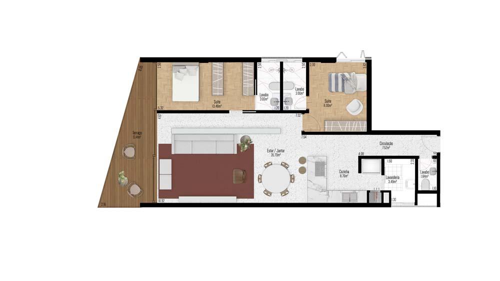 Apartamento 201 - 2 Suítes